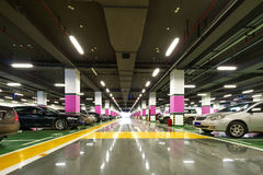 New underground car park. The underground parking lot parked the car stock images