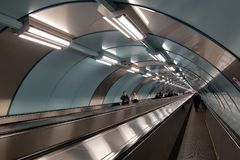 New underpass with 300 meter travelator under the Neva River at the subway station Sportivnaya was opened May 27, 2015 royalty free stock images