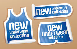New underwear collection for men stickers. New underwear collection for men, vector stickers set Royalty Free Stock Photos