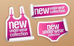New underwear collection for women stickers. New underwear collection for women, vector stickers set Royalty Free Stock Photography