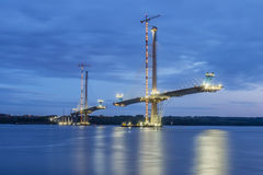 New unfinished bridge lit in Edinburgh after sunset Stock Photography