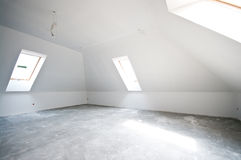 New unfinished room. Interior of a new, unfinished and unfurnished room with low ceiling Royalty Free Stock Image