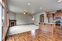 New unfurnished living room with fireplace. Royalty Free Stock Images