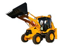 The new universal bulldozer with the lifted bucket Royalty Free Stock Photography