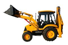 The new universal bulldozer of yellow color. On a white background, Isolated (look similar images in my portfolio Royalty Free Stock Photos