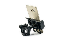 New universal phone holder for car motorbike and bike with installed gold smartphone. Isolated on white background Royalty Free Stock Photos