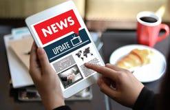NEW Update Headline Media Live Broadcast Media Talking Communica Stock Photo