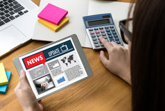 NEW Update Headline Media Live Broadcast Media Talking Communica Stock Image