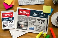 NEW Update Headline Media Live Broadcast Media Talking Communica Stock Photography