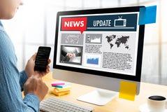 NEW Update Headline Media Live Broadcast Media Talking Communica Royalty Free Stock Images