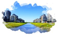 New urban blocks, new panel multi-apartment colorful houses stand on the banks of the river, people rest and children play on a gr royalty free stock photo