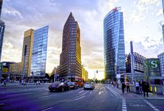 New urban development ultra-modern German architecture. BERLIN, GERMANY - AUGUST 28 2017; Street scenes including three new urban development ultra-modern royalty free stock photo