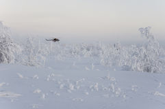 New Urengoy, YaNAO, North of Russia. Helicopter UTair and Konvers avia  in the local airport on the service. January 06, 2017 Edit. Orial Royalty Free Stock Image