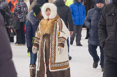 New Urengoy, YaNAO, North of Russia. March 1, 2016. The holiday of north nationality. Nenets man and women Royalty Free Stock Photo