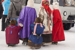 New Urengoy, YaNAO, North of Russia. March 1, 2016. The holiday of north nationality. Nenets man and women Stock Photo