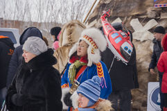 New Urengoy, YaNAO, North of Russia. March 1, 2016. The holiday of north nationality. Nenets man and women Royalty Free Stock Image