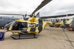 New US Army Eurocopter UH-72 Lakota helicopter. PARIS-LE BOURGET - JUN 18, 2015: New US Army Eurocopter UH-72 Lakota helicopter on display at the Parlis Air Show Stock Photos