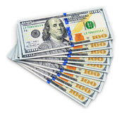 New 100 US dollar banknotes. Creative abstract business, financial success and making money concept: stack of new 100 US dollar 2013 edition banknotes or bills Royalty Free Stock Photos