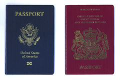 New US and EU passports. New American and European - United Kingdom - passports side by side Stock Image