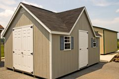New Utility Storage Shed. New, backyard utility and tool storage shed Royalty Free Stock Images