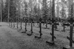 New Valamo Orthodox monastery. VALAMO, FINLAND - JUNE 18, 2017: The graveyard of the New Valamo Orthodox monastery, in Heinavesi, Finland Royalty Free Stock Photography