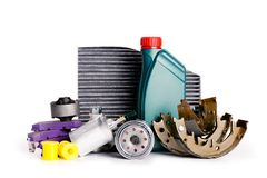 Set of new Various car parts necessary for vehicle service stock image