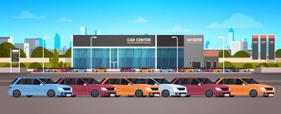 New Vechicles Car Dealer Center Showroom Building. Flat Vector Illustration royalty free illustration