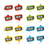 New vector icons - Origami paper labels Stock Photo