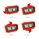 New vector icons - Origami red labels Stock Photos