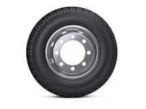 New vehicle truck tire. Big car wheel with disk front view. Royalty Free Stock Photos