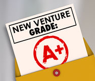 New Venture Grade Report Card A Plus Great Grade Score. New Venture Grade words on a report card and A Plus stamped to illustrate a great score or rating on your Stock Images