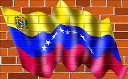 The new Venzuelan flag on wall of bricks With eight five-pointed stars. The current flag of Venezuela on wall of bricks was introduced in 2006. The basic design Stock Illustration