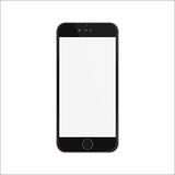 New version of black slim smartphone iphon style with blank white screen. Royalty Free Stock Photos