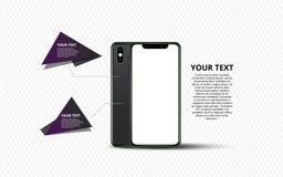 Smartphone banner. Minimalistic vector flat illustration of mobile phone. Mockup generic smartphone. royalty free illustration