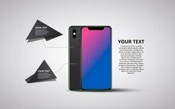Smartphone banner. Minimalistic vector flat illustration of mobile phone. stock illustration