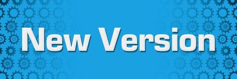 New Version Blue Gears Background Horizontal. New version text written over blue background stock illustration