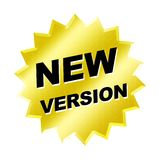 New Version Sign. Yellow new version sign - web button internet design Royalty Free Stock Image