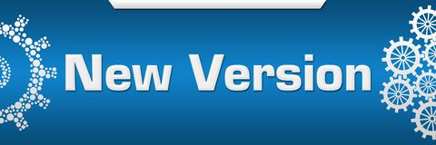 New Version Blue Both Side Gears. New version text written over blue background royalty free illustration