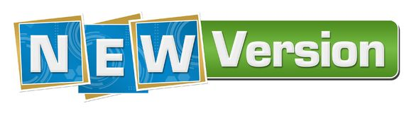 New Version Blue Technology Squares Green Bar. New version text written over blue background royalty free illustration