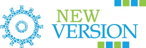 New Version Dotted Gear Green Blue Horizontal. New version text written over green blue background vector illustration