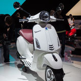 New Vespa Primavera scooter at EICMA 2013 in Milan, Italy Stock Image