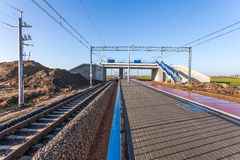 New viaduct and pedestrian crossing over the railway line Stock Photo