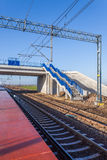 New viaduct and pedestrian crossing over the railway line Royalty Free Stock Photography