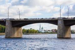 The new Volga bridge in Tver, Russia. St. Catherine`s convent. River landscape royalty free stock photo