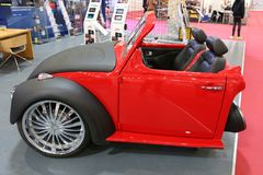 New Volkswagen Beetle at SIAB 2018, Romexpo, Bucharest, Romania. New Volkswagen Beetle with two seats and audio system configuration at SIAB 2018, Romexpo Royalty Free Stock Image