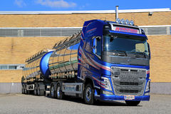 New Volvo FH Tank Truck by a Warehouse Stock Photography