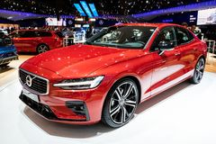 New Volvo S60 car. BRUSSELS - JAN 18, 2019: New Volvo S60 car showcased at the Brussels Motor Show 2019 Autosalon stock images