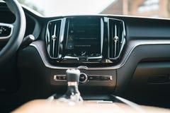 New 2018 Volvo XC60 car interior. Kiev, Ukraine - 19 August 2017, New Volvo XC60 2018 presented to public in Ukraine Royalty Free Stock Photography