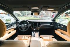 New 2018 Volvo XC60 car interior wide. Kiev, Ukraine - 19 August 2017, New Volvo XC60 2018 presented to public in Ukraine Royalty Free Stock Images