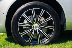 New 2018 Volvo XC60 car wheel. Kiev, Ukraine - 19 August 2017, New Volvo XC60 2018 presented to public in Ukraine Royalty Free Stock Photos